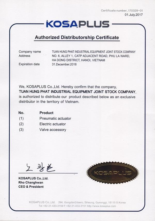 Thư ủy quyền đại diện phân phối van điều khiển Kosaplus